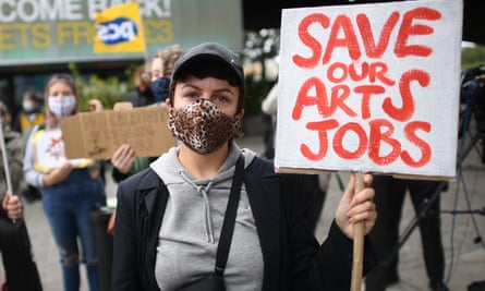 Demonstrators outside the National Theatre, London, in late August