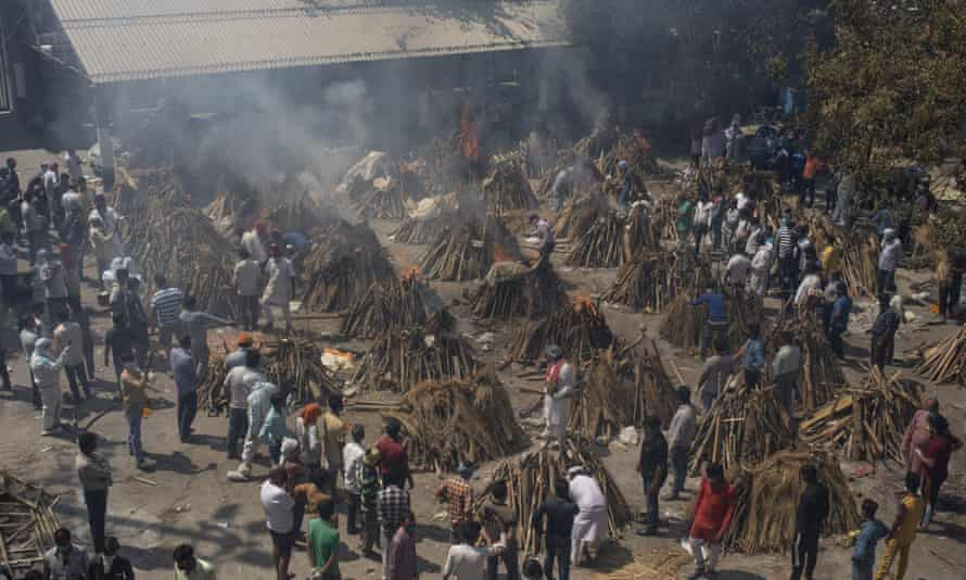 Funeral pyres for those who died of Covid-19 in New Delhi.