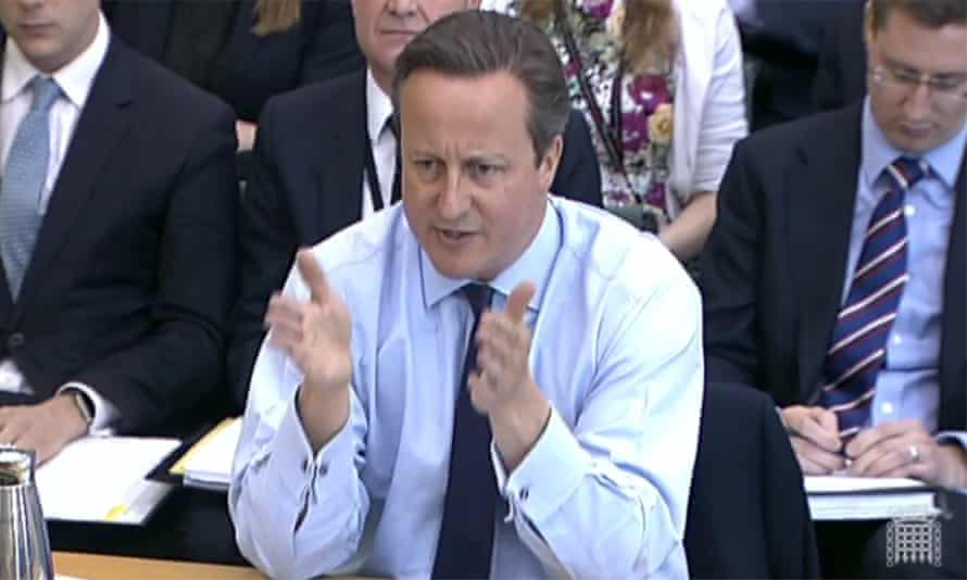 David Cameron during a session of the Commons liaison committee
