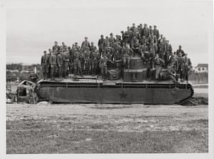 A German unit standing on a disabled Soviet T-35 tank in the summer of 1941