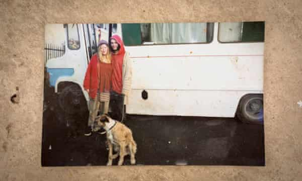 Amy and her neighbour, Jess, next to their vehicles in the west of England.