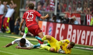 Bayern's Munich's Thomas Müller celebrates scoring against Bayer Leverkusen