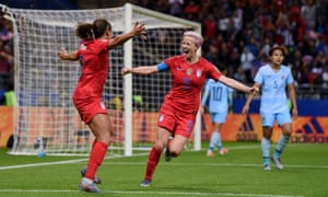 Mallory Pugh of the USA celebrates with teammate Megan Rapinoe after scoring her team's eleventh goal.