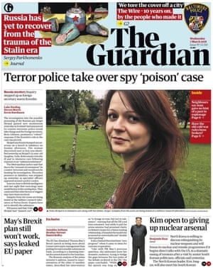 Guardian front page, Wednesday 7 March 2018