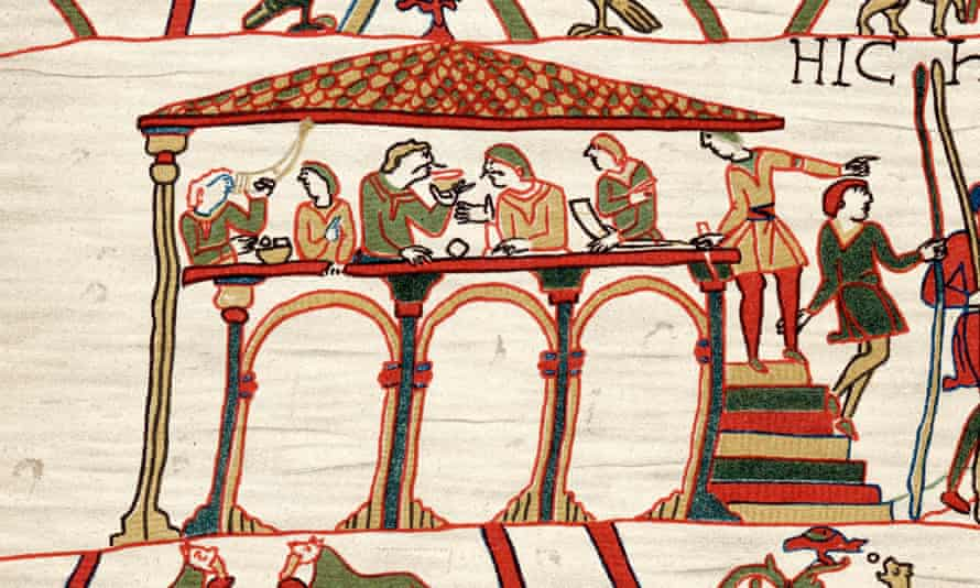 Harold II, last Anglo-Saxon king of England, portrayed on the Bayeux Tapestry before his defeat to William the Conqueror.