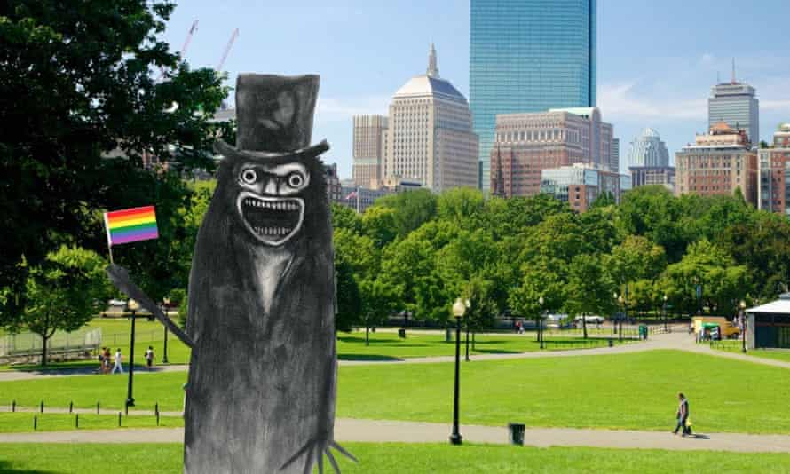 The Babadook holding a rainbow pride flag in an image tweeted out by Massachusetts attorney-general Maura Healey