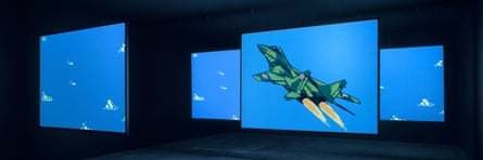 MIG 29 Soviet Fighter Plane and Clouds, 2005, by Cory Arcangel, on show in Everything At Once.