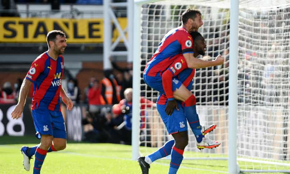 Jeffrey Schlupp celebrates his equaliser with Joel Ward as Crystal Palace stage a second-half comeback.