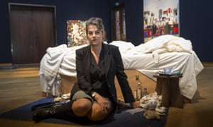 Dirtied by love and life … Tracey Emin with her most famous work, 1998's My Bed.