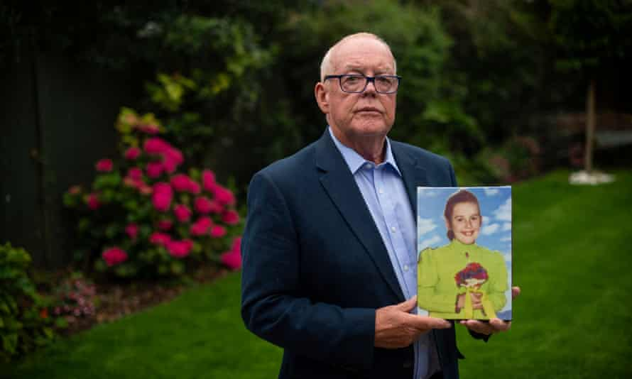 Michael O'Hare with the picture of his sister, Majella O'Hare, who was shot dead by a British Army soldier in 1976
