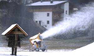 A snowmaker spraying snow in See near Ischgl, Austria.