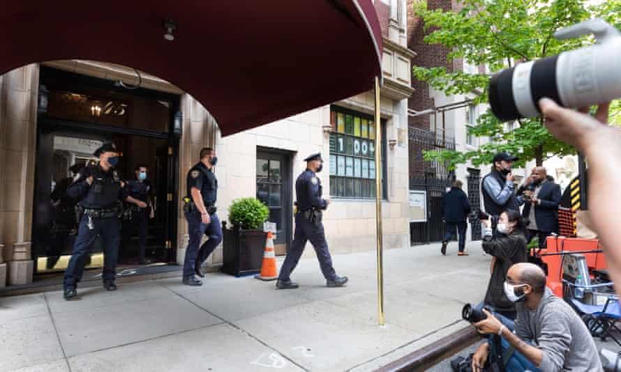 The scene outside Giuliani's apartment in Manhattan on Wednesday.