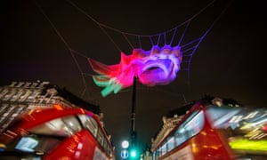 Oxford Circus during Lumiere London.