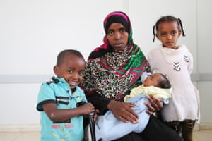 Yemen Fathiya is an Oromo from Ethiopia but has been living in Yemen for five years. She has three children, and came to this clinic in Sana'a to have her newborn girl immunised. She has not been able to pay rent for two months, and can hardly afford cooking gas and transport. Her husband used to work as a cleaner in a hospital but was dismissed three months ago. <br><br>'I am stuck here,' she says. 'If I could go back to Ethiopia I would, but I would get killed as we fled for political reasons ... I get very afraid with the constant shelling. The children are afraid. But what can we do?'