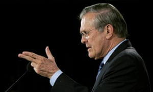 Donald Rumsfeld speaking as US defence secretary during a press briefing in 2006