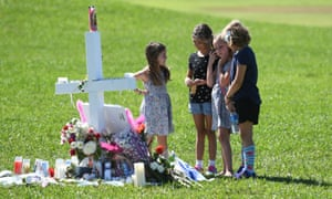 Children at a memorial for the victims of the Parkland shooting. Seventeen people died in the attack on Wednesday afternoon.