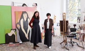 Artist Chantal Joffe (left) photographed in her studio in London with the writer Olivia Laing.