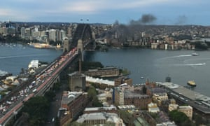 Smoke seen from a bus blaze on the Sydney Harbour Bridge