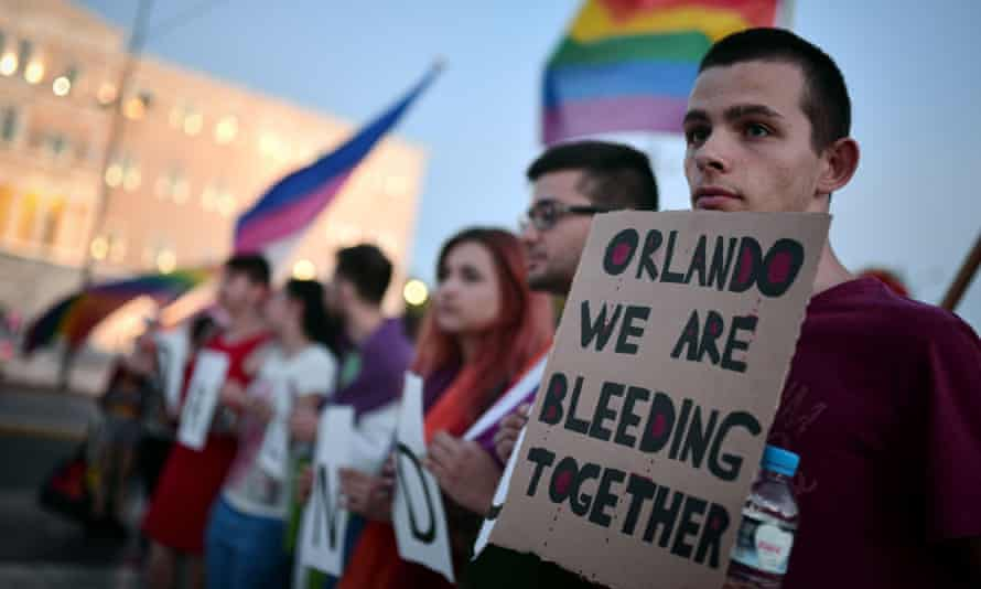 'How else to connect the nightclub massacre in Orlando on June 11 with the murder of two policemen in a Paris banlieue the day after?' ... a march for victims of the Orlando shootings held in Athens, Greece.