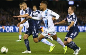 Harry Novillo is challenged by Carl Valeri and Leigh Broxham.