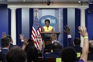 White House principal deputy press secretary Karine Jean-Pierre speaks during a press briefing.