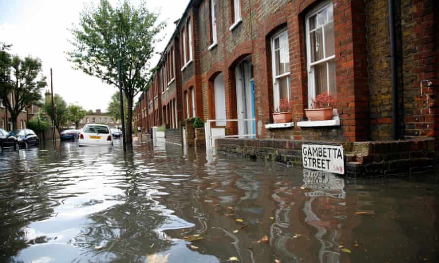 Flooding in south west London street