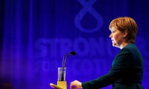 Nicola Sturgeon addressing her conference today.
