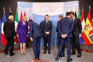 President Emmanuel Macron prepares to pose with European leaders