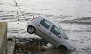 Barry Lamb's hire car swept out to sea in France