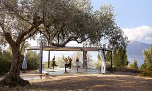 Namaste: yoga with a view beneath the olive trees at Silver Island in Greece.