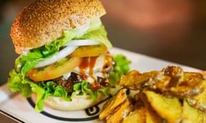 A burger and chips meal at the Nah Nah Bah, Lagos