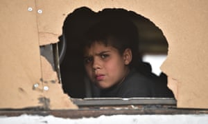 A young Syrian is evacuated from Eastern Ghouta. The US has accepted just 44 Syrian refugees in the past six months.