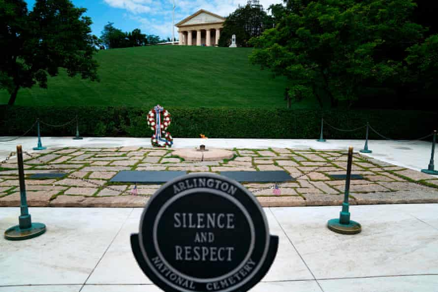 A view of the eternal flame at Kennedy's grave in Arlington National Cemetery.