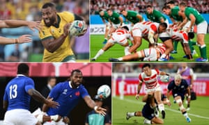 Australia's Samu Kerevi will be looking to cause England problems, the Irish defence line will need to be organised against the All Blacks, Japan will need to again play with verve and pace to beat South Africa, France's wing Alivereti Raka offloads to Virimi Vakatawa leading to him scoring a try against Tonga.