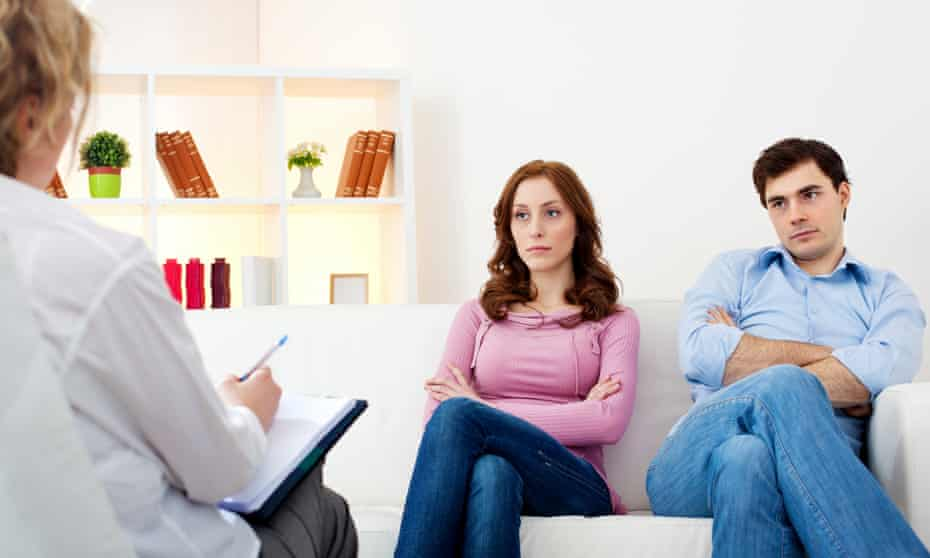 unhappy couple and therapist