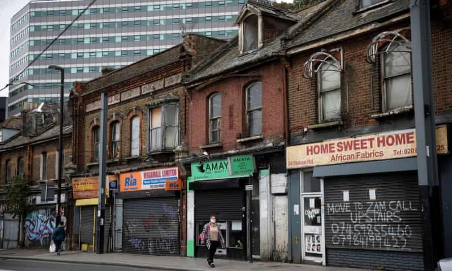 Shuttered shops in Croydon, south London, 27 September 2020.