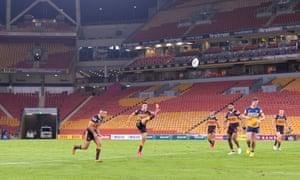 The Brisbane Broncos' Brodie Croft (kicking)