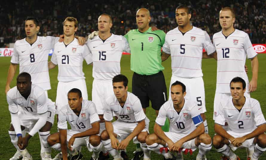 Benny Feilhaber, bottom middle, with his teammates in the 2010 World Cup.