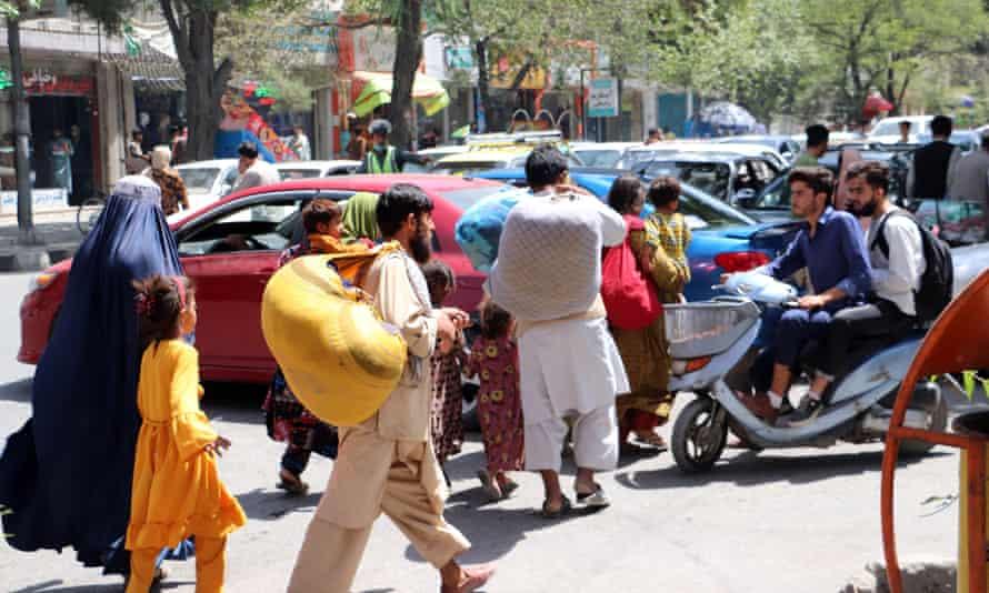 Families in street