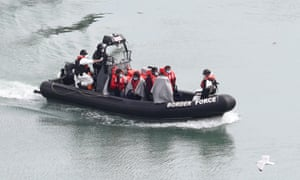Border Force boat with migrants on board