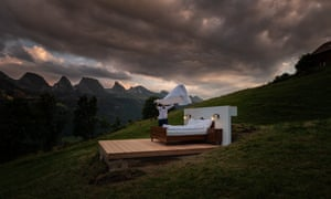 Double bed in the landscape, Switzerland.