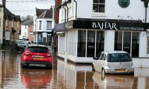 Flood water slowly recedes in Tenbury Wells, Worcestershire, after Storm Dennis.