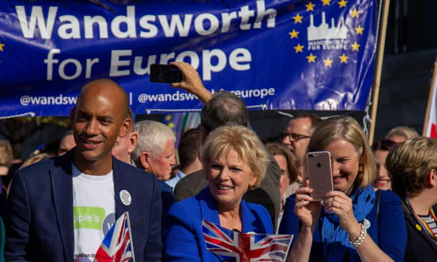 Tory MPs Anna Soubry and Sarah Wollaston with Labour MP Chuka Umunna at the People's Vote march.