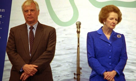 Chris Patten with Mrs Thatcher at a ceremony in Hong Kong in 1997 .