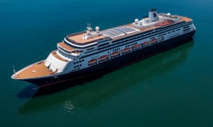 Aerial view of Holland America's cruise ship Zaandam as it entered the Panama City bay on 27 March 2020.
