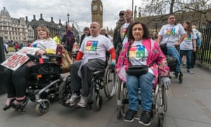 A protest by disabled people over benefit cuts in May 2017