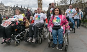 Wheelchair users protest against cuts to benefits