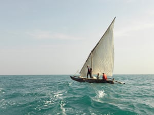 A traditional dhow off the coast of Dar es Salaam