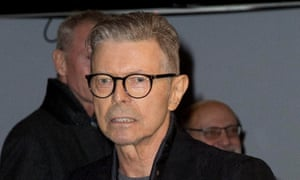 David Bowie at the Theatre Workshop in New York to attend the premiere of the musical Lazarus.