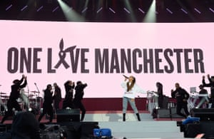 Ariana Grande performs on stage during the One Love Manchester Benefit Concert at Old Trafford